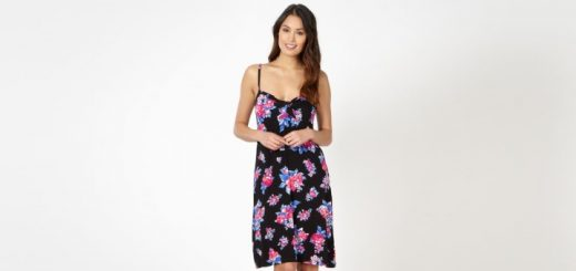 Black floral twist-front jersey beach dress from the Debenhams Beach Collection