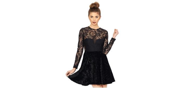 black velvet skater dress long sleeve black velvet skater dress long sleeve  ... 37b32de4828d