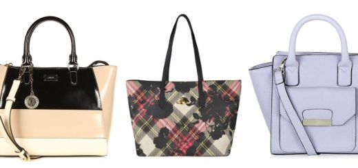 Tote bags (l-r) from DKNY, Vivienne Westwood (both at Cruise) and New Look