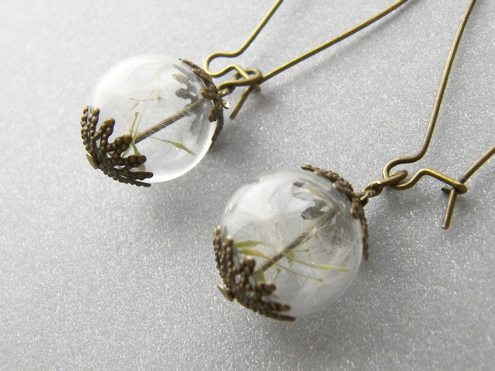 Dandelion earrings by Wishes on the Wind at Etsy