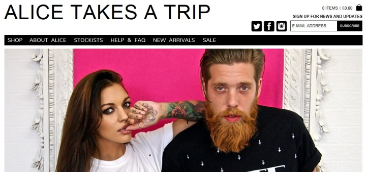 Screenshot of Alice Takes a Trip website
