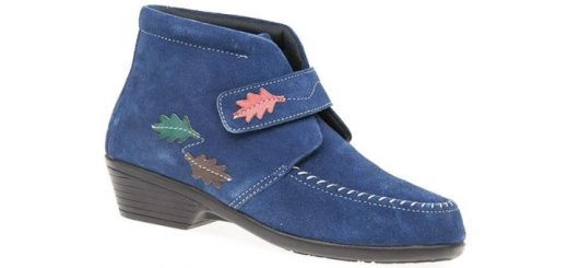 Pavers Low Heel Leather Ankle Boot with Leaf Motifs
