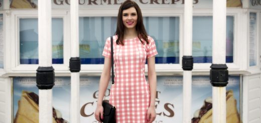 Coral crepe gingham pocket dress from Select: £14.00