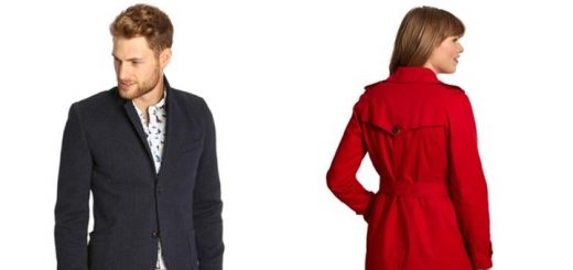 Men's tweed-look jacket (left) and women's trenchcoat (right), from Joules