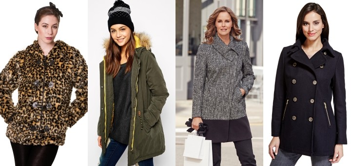 Left to right: coats from Blue Banana, Asos, Bonmarché and M&S