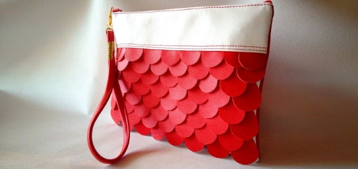 Red Mermaid clutch purse bag from Qmuro on Etsy