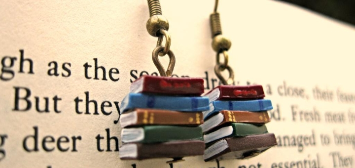 Stack of books earrings at Coryographies on Etsy