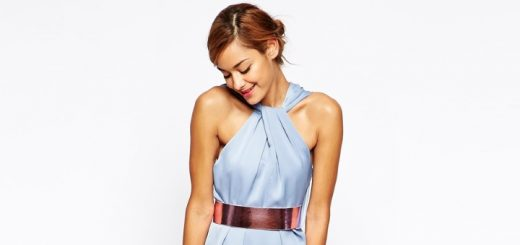 ASOS twist-front dress with metallic belt