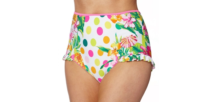 Floozie by Frost French pink tropicana spot high-waisted bikini bottoms at Debenhams