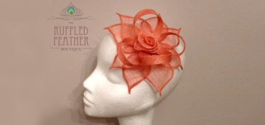 'Dahlia' peach sinamay fascinator at The Ruffled Feather Boutique
