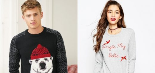 Christmas jumpers from Next (left) and ASOS (right)