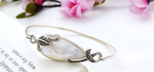 Mother of pearl sterling silver bangle from Guilty Bangles