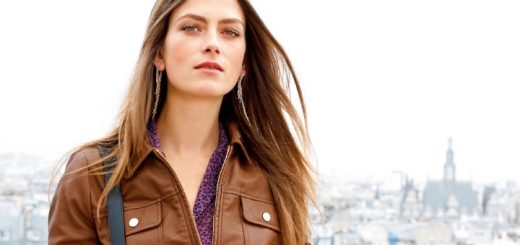 Faux-leather zip-up bomber jacket at La Redoute