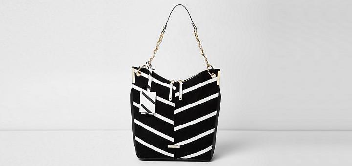 Black mono slouch bag, £35.00, River Island