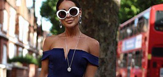 Navy Bardot bodycon dress from AX Paris