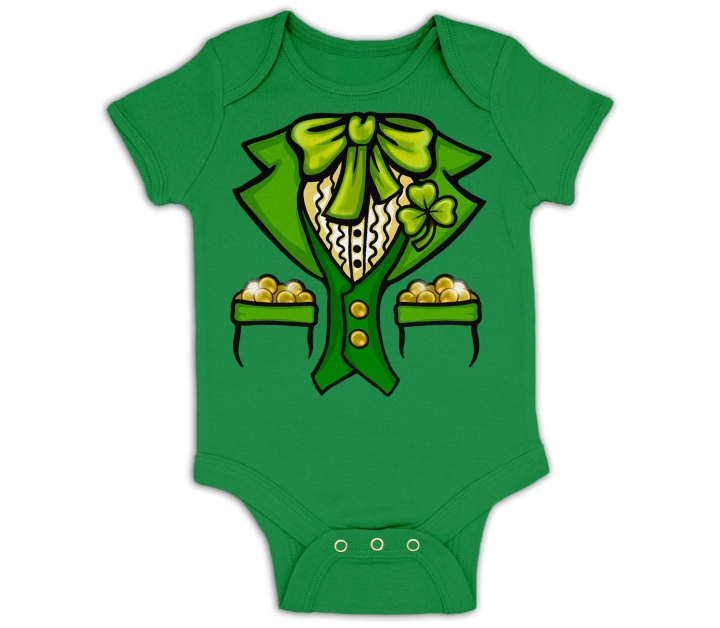 Leprechaun baby grow by BigMouthUK at Etsy