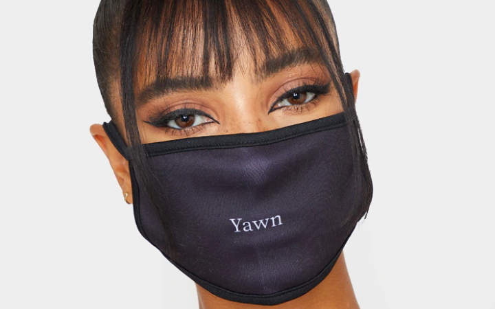 Black Yawn Face Mask at PrettyLittleThing