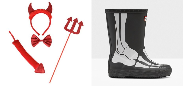 Argos Halloween accessory pack (left) and Hunter skeleton boots (right)