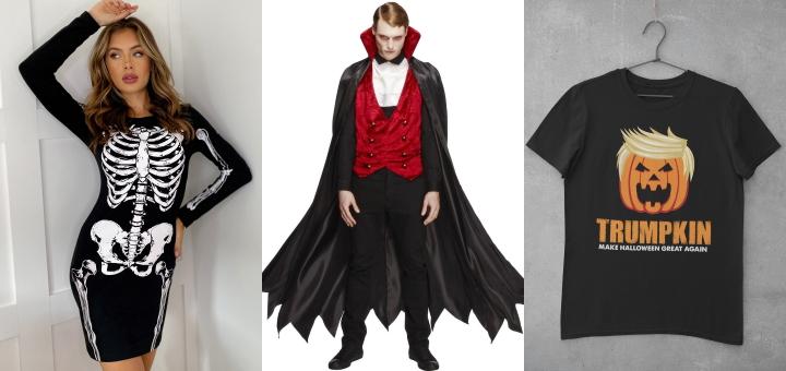 From left to right: Lipsy Halloween dress; Smiffys vampire costume; Etsy Trumpkin t-shirt