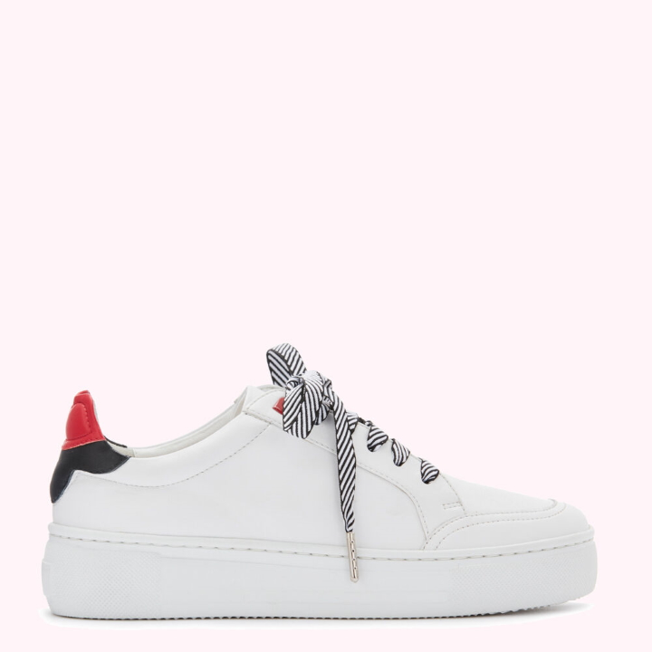 Chalk and Red Lip Patch Honor Trainers by Lulu Guinness