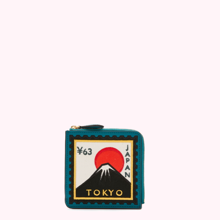 Emerald Tokyo Travel Stamps Square Coin Purse by Lulu Guinness