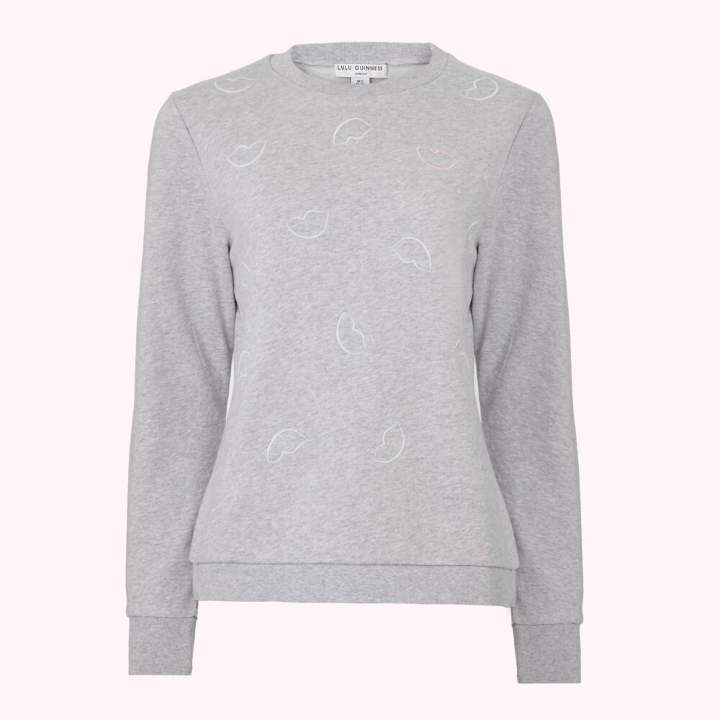 Grey Lip Printed Sami Sweatshirt by Lulu Guinness