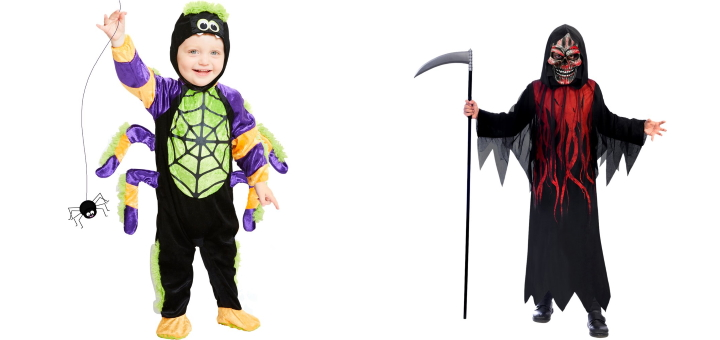 Kids' and grim reaper costume options from Party Delights