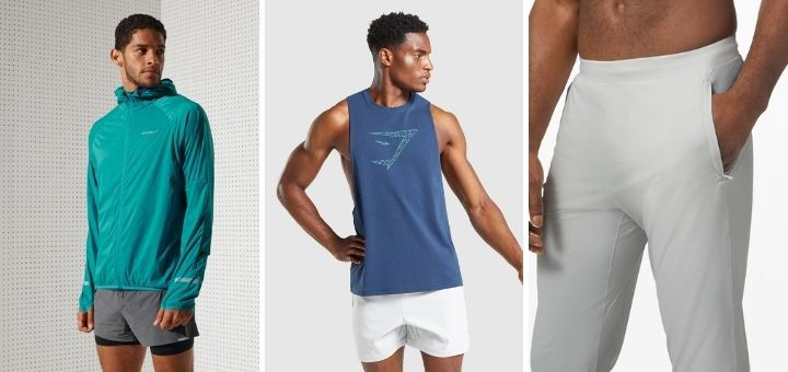 Men's stylish fitness gear from Superdry, Gymshark and Lululemon